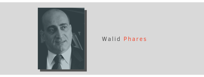 Portrait of Walid Phares with blue overlay and gray background
