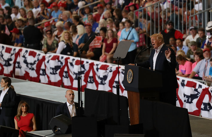 President Donald Trump speaks during a campaign rally at the AeroMod International hangar at Orlando Melbourne International Airport on February 18, 2017 in Melbourne, Florida. President Trump is holding his rally as he continues to try to push his agenda through in Washington, DC.
