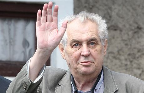 President of the Czech Republic Miloš Zeman waves while looking off into the distance.