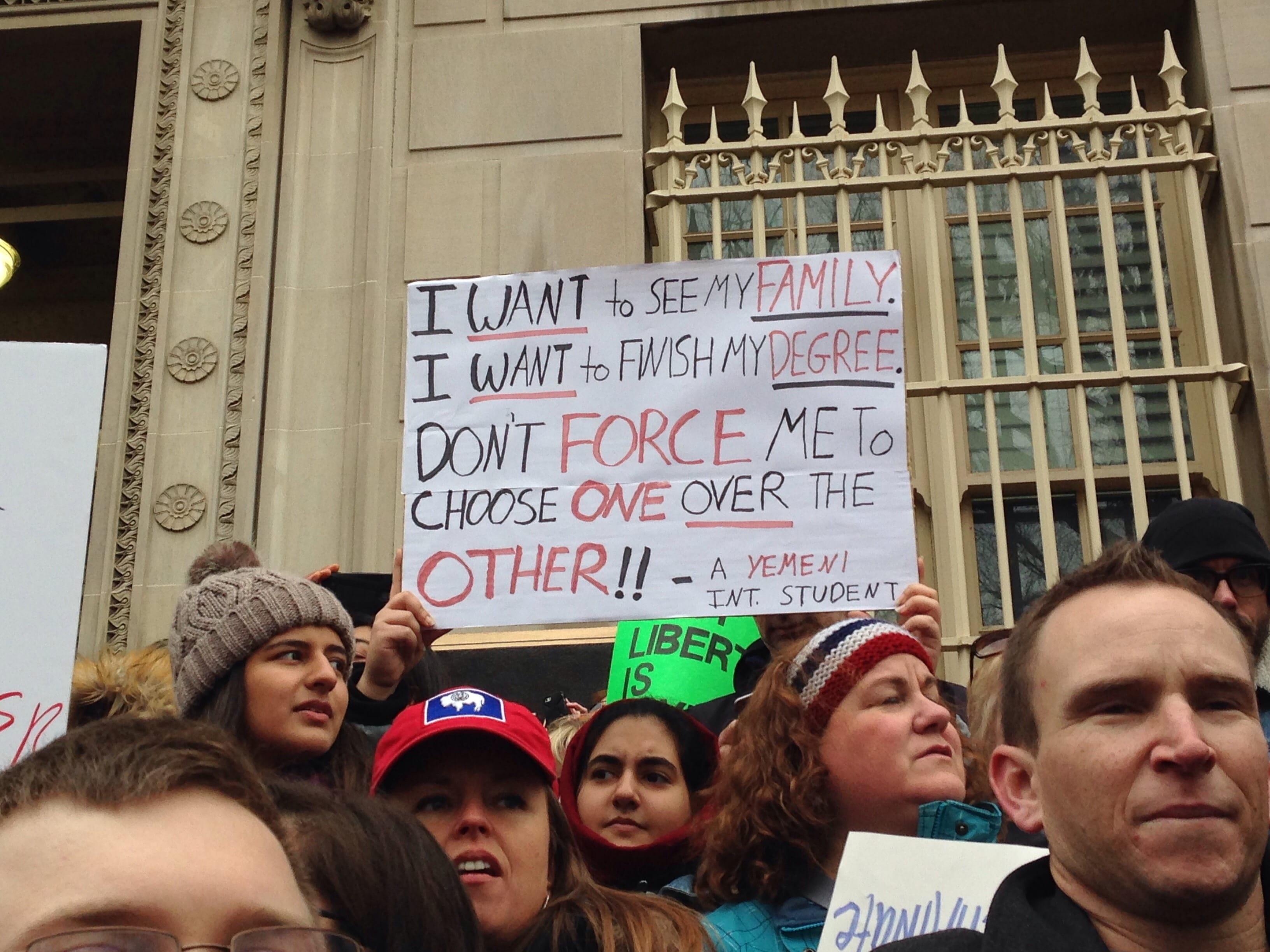Demonstrators gather to protest the Muslim Ban on January 27, 2017.
