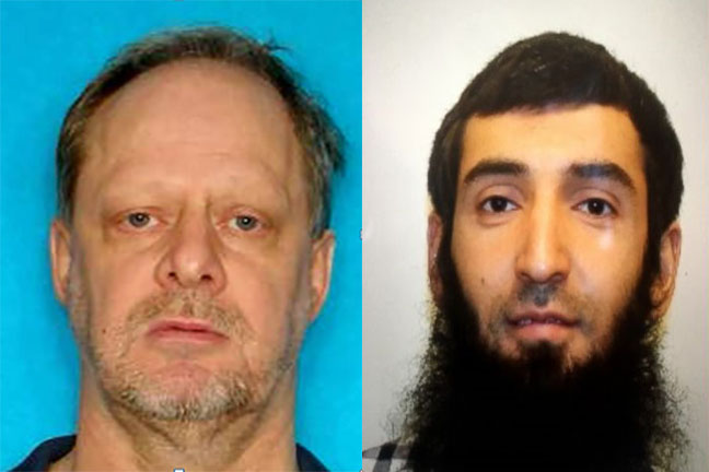 An image of Stephen Paddock is shown to the left of a photo of Saifullo Saipov