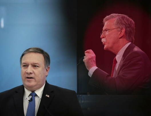 A photo of John Bolton speaking to an audience is superimposed onto an image of Mike Pompeo looking off into the distance.