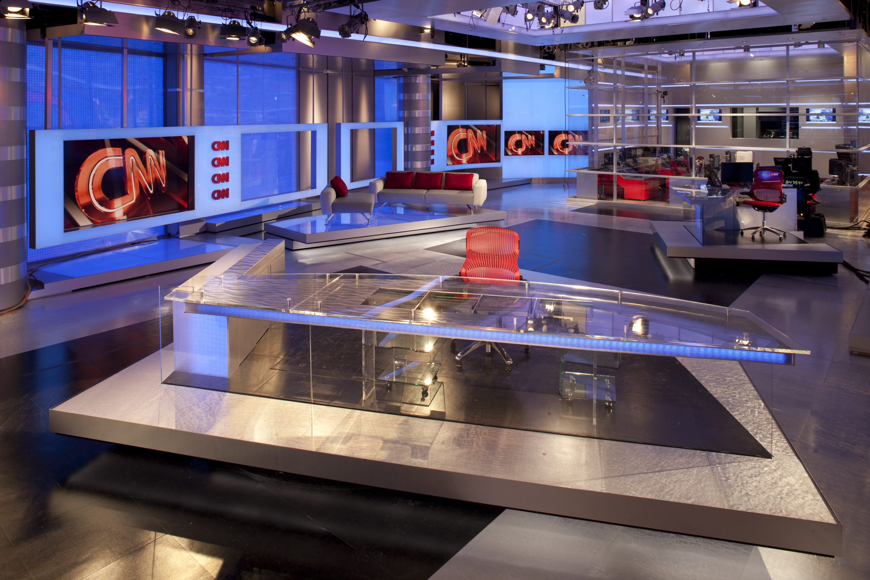 Panoramic view of the CNN newsroom, including the anchor stations.