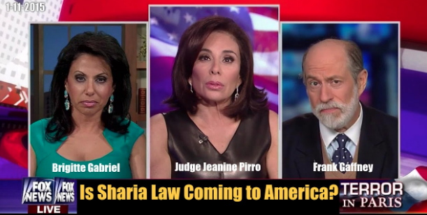 Collage of three images, two women and a man, from left to right, act for america's brigitte gabriel, fox news's judge jeanine and rank gaffney