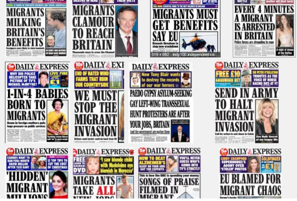 Newspaper clippings from various outlets referring to immigrants in dehumanizing terms