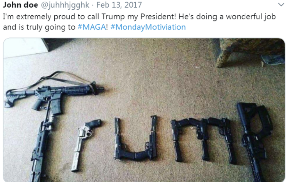 Guns spell out Trump. Taken from the Twitter feed of the alleged El Paso shooter