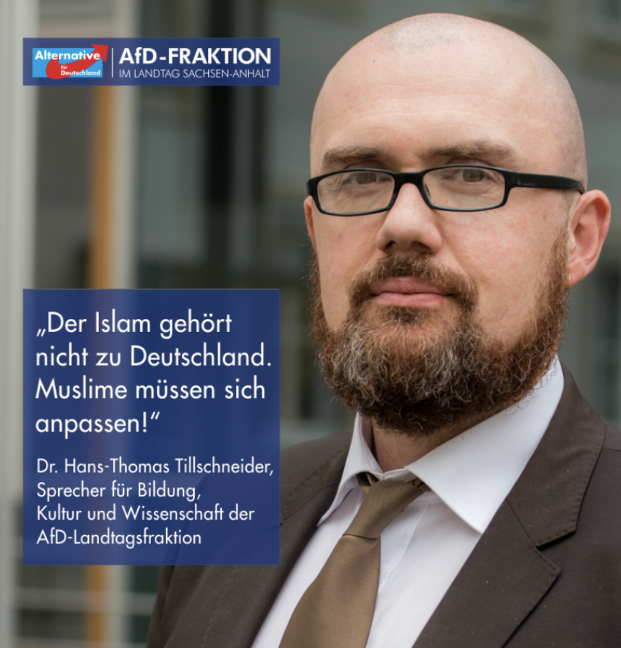 Post reads: Islam is not part of Germany. Muslims have to assimilate. From AfD Facebook