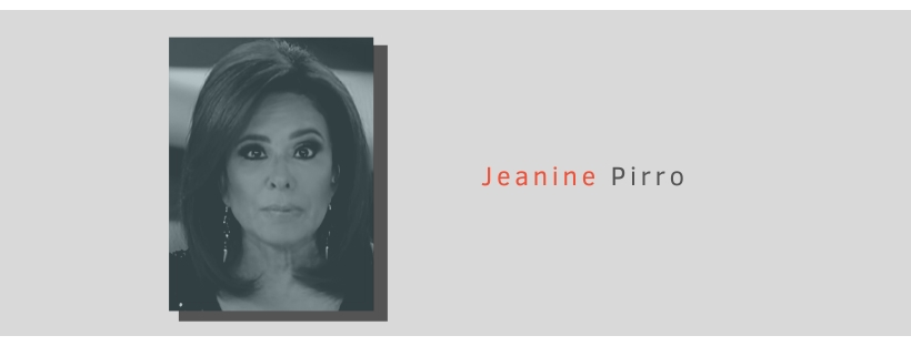 FOX news host Jeanine Pirro in a graphic with her portrait and name