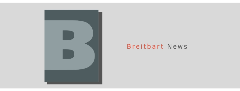 "A large letter ""B"" stands in for the Breitbart logo"