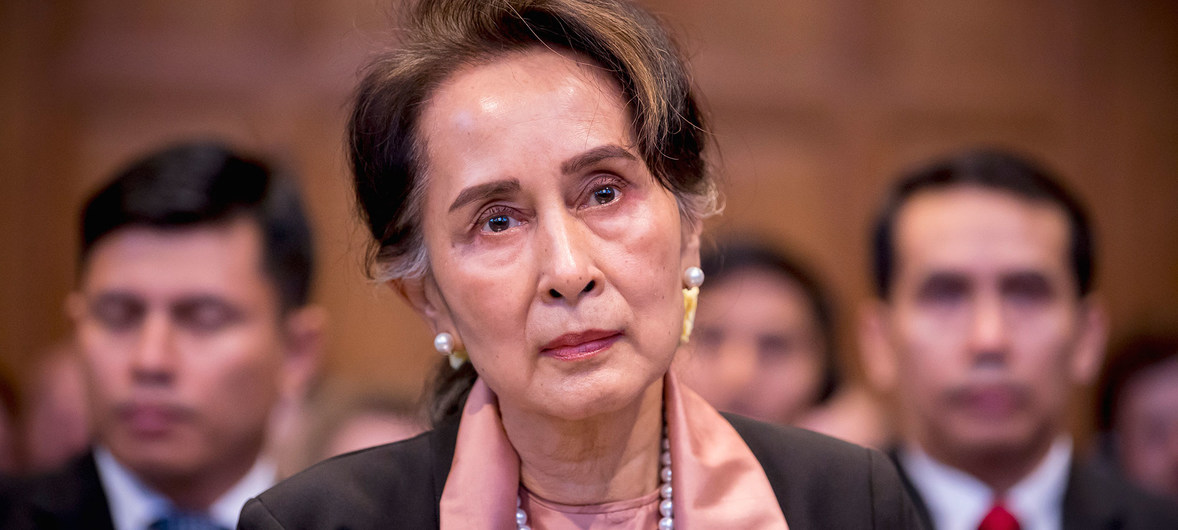 Aung San Suu Kyi, de facto leader of the government of Myanmar, appears at the ICJ in the Hague