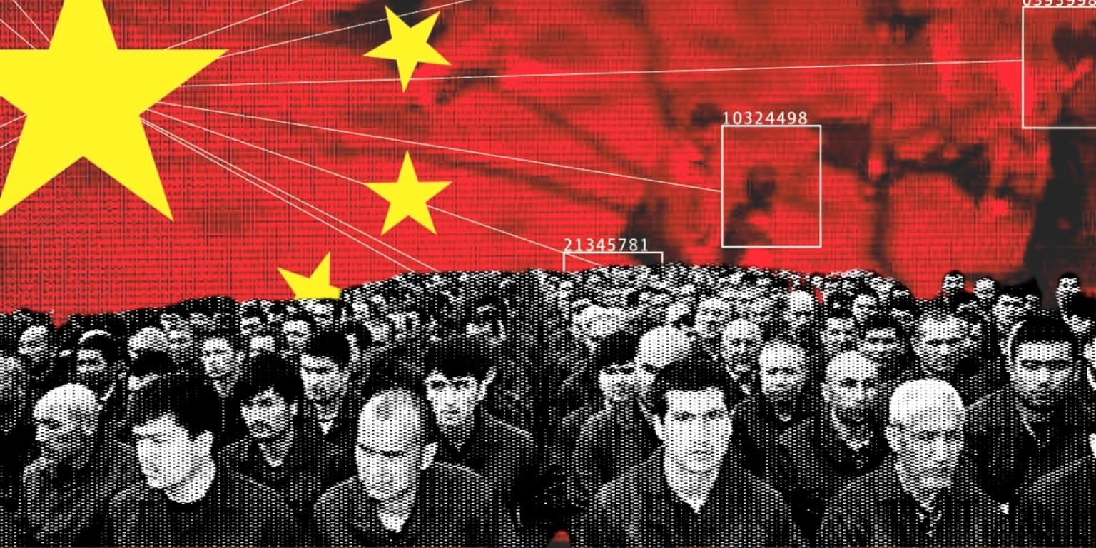 A collage shows a graphic of china surveilling people above a calico-collage of interned uighurs from public domain images
